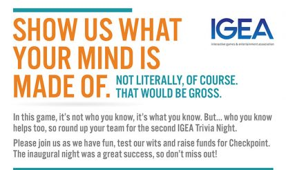 IGEA Trivia Night May 2018 – supporting Checkpoint